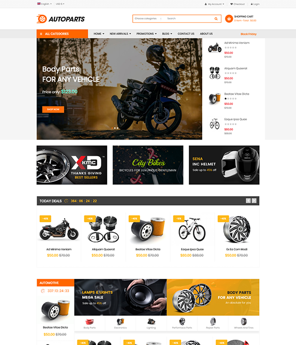 Best Joomla Templates for Autoparts, car shop, auto service websites