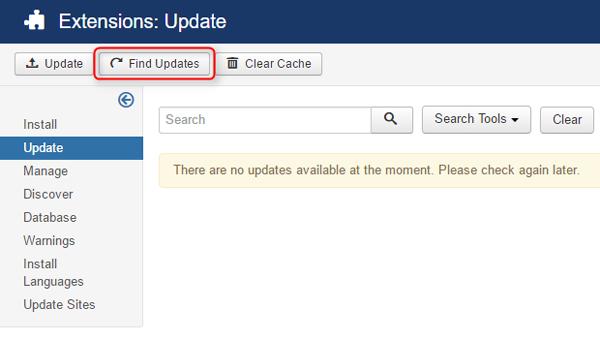 find update joomla update component