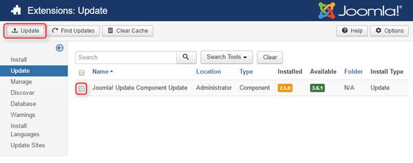 update joomla update component