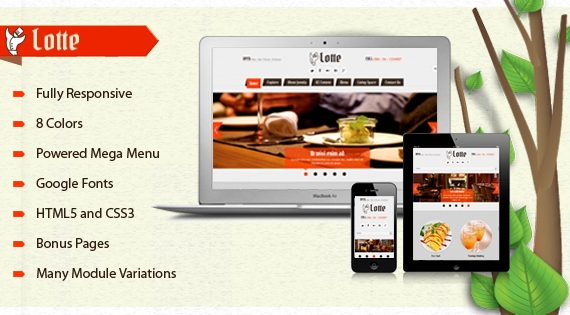 SJ Lotte - a greatet template for the restaurant, hotel or tourism website