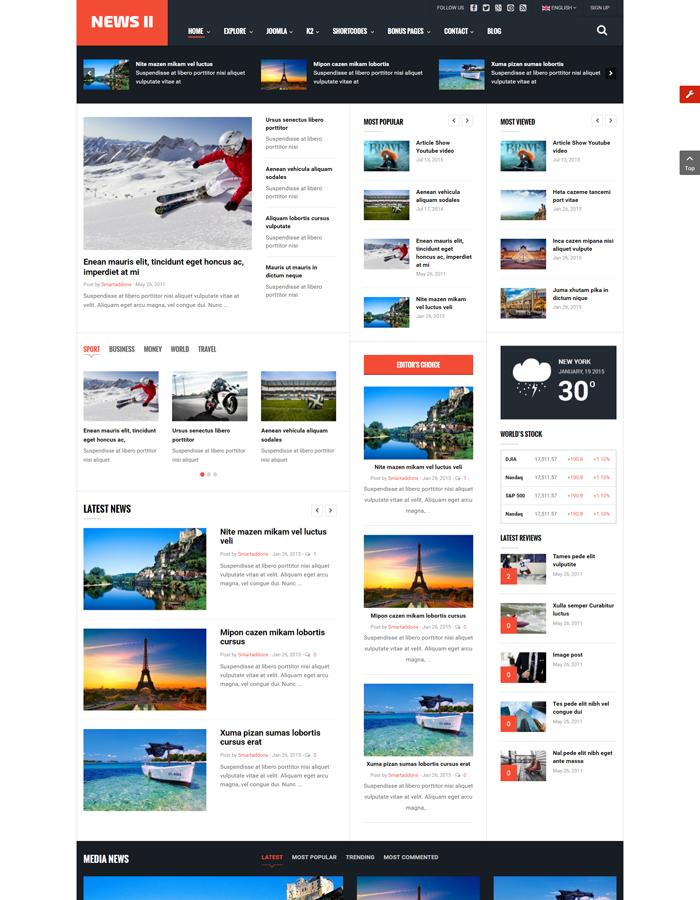 Sj News Ii Free Responsive Joomla Magazine Template