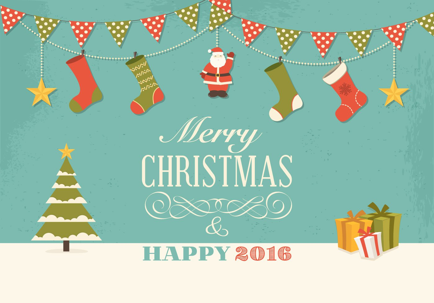 Charmant Retro Christmas Wishes Card Vector Graphic (Download)