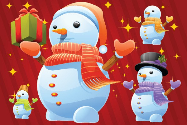 Winter Snowman Vector