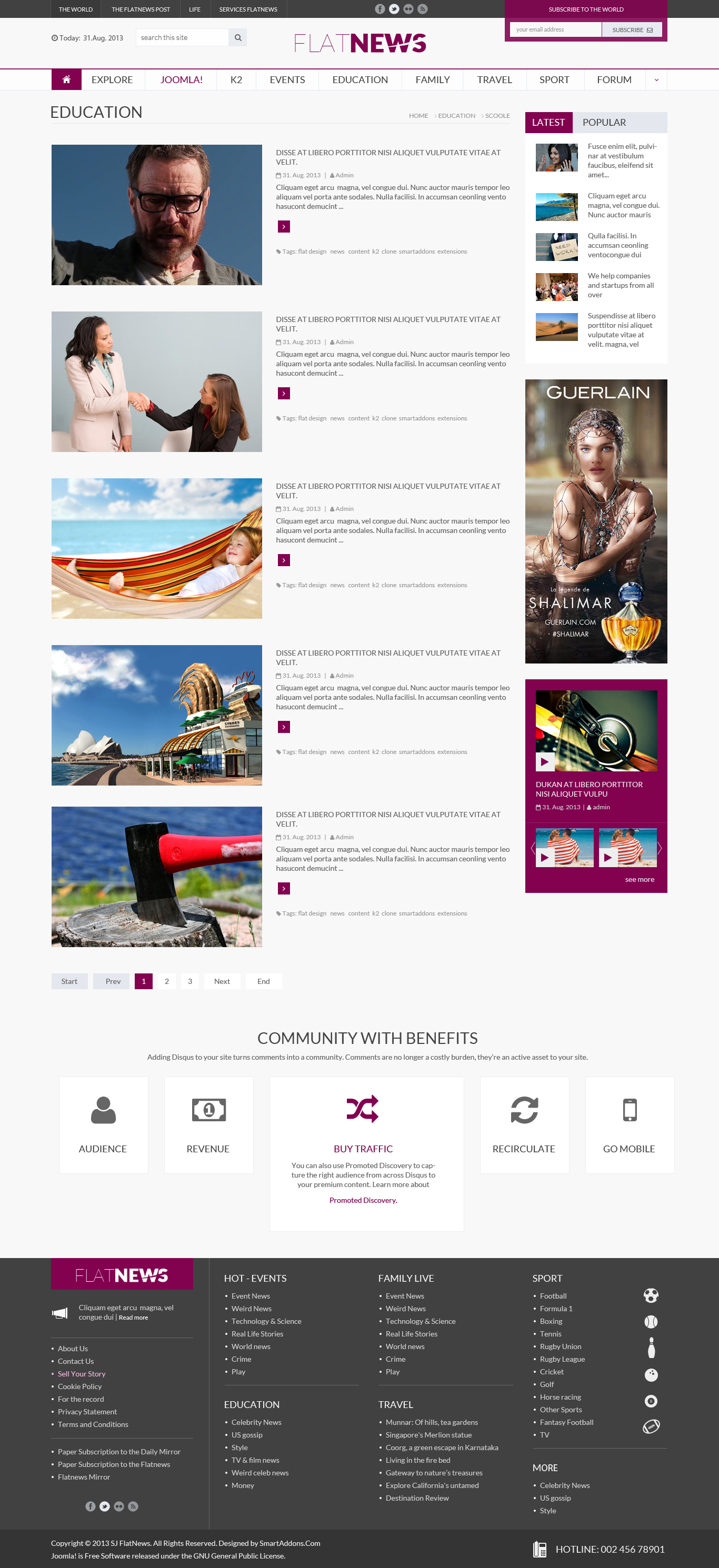 Preview SJ Flat News - Listing Joomla Content Page