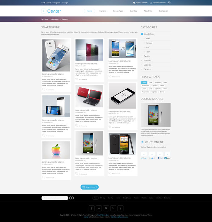Preview SJ iCenter - Responsive Joomla Template
