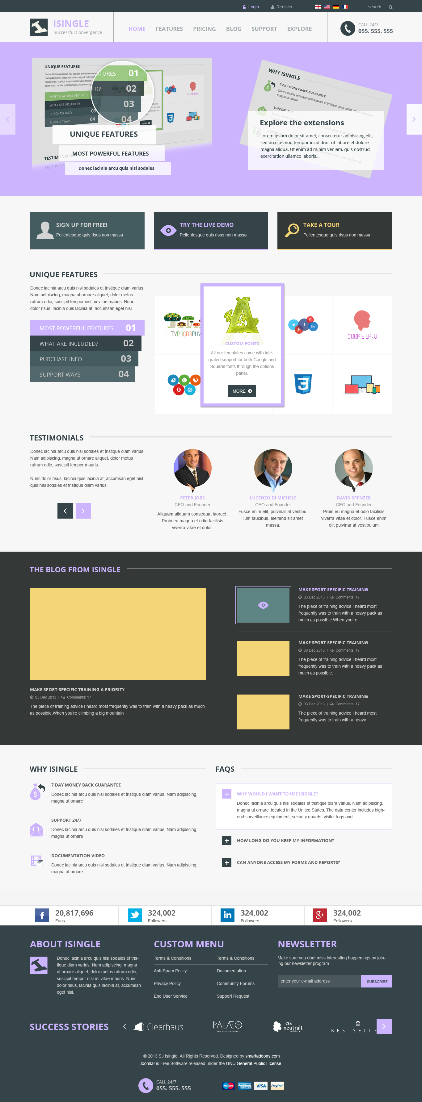preview sj isingle responsive joomla 3 x template for k2 component