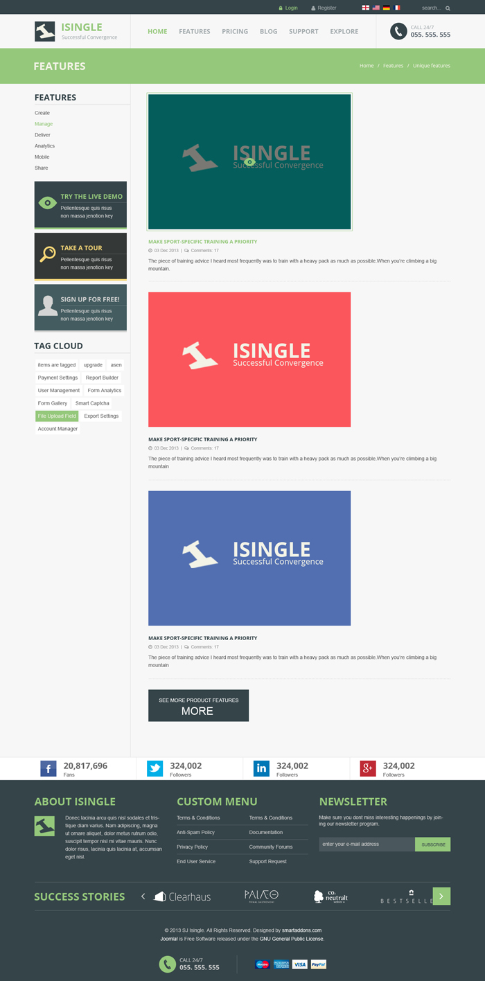 Preview SJ iSingle - Responsive Joomla Template