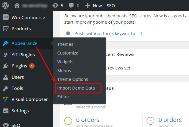 Image result for how to import demo content in wordpress