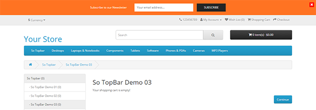 Topbar - Opencart 3 Extension