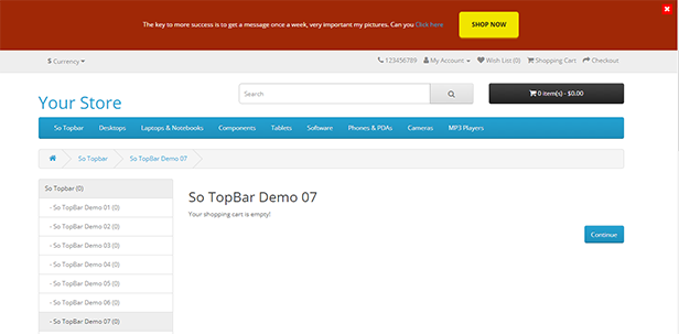 Topbar - Opencart 3 Extension