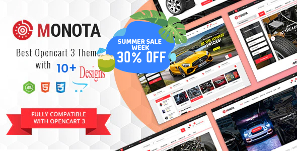 Best Auto Store OpenCart Theme - Monota