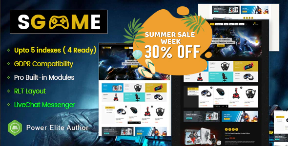 Premium Responsive OpenCart Theme - Sgame