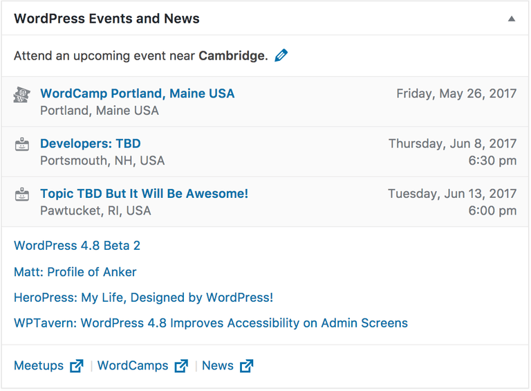 Events Widget in WordPress 4.8