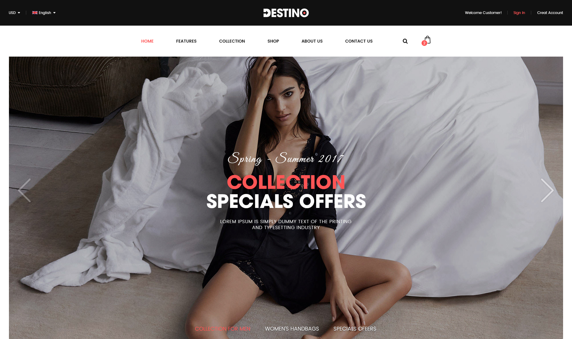 Bold Typography in Destino Theme