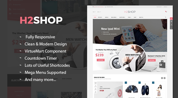 SJ H2shop - Responsive Joomla eCommerce Template