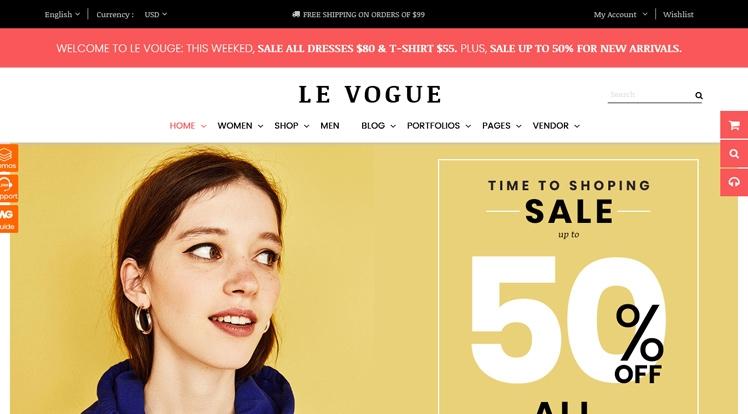 LeVogue - Creative Fashion Shop WooCommerce Theme