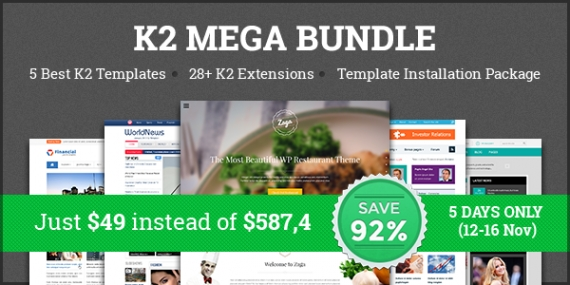 Welcome to our new home with 92% savings on K2 MEGA Bundle - Only $49