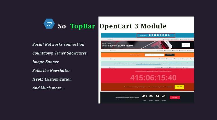 Topbar - Responsive Topbar OpenCart 3 Module