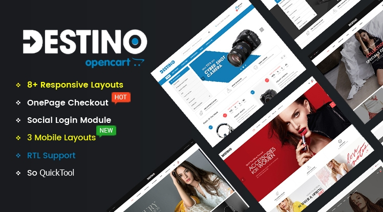 Destino - Multipurpose eCommerce OpenCart 2.3 and 3 Theme With Mobile-Specific Layouts