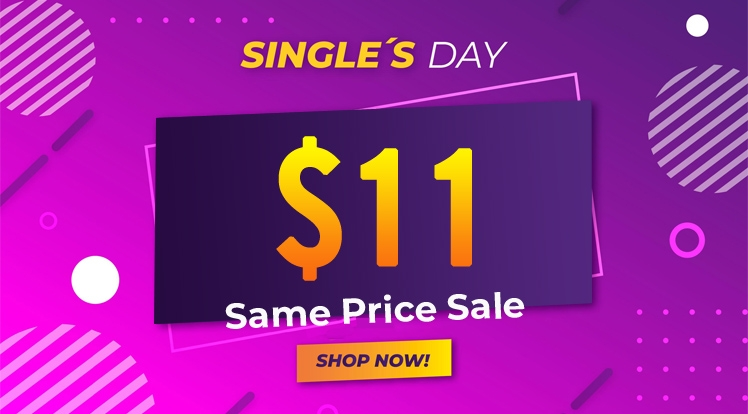 Flash Singles' Day Sale! $11 Only on Any Themes & $11 Off Coupon