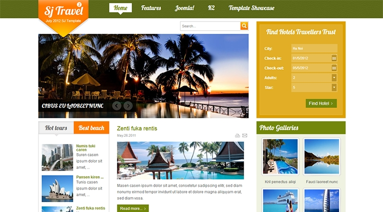 SJ Travel II - Responsive Joomla Travel II Template