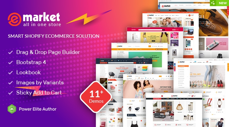 Ss eMarket - Multipurpose Sectioned Drag & Drop Bootstrap 4 Shopify Theme