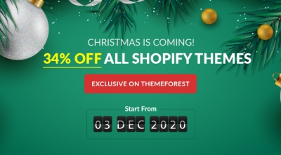 Christmas Sale! $39 Only on Any Exclusive Shopify Theme on Themeforest