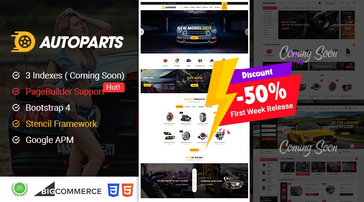 AutoParts BigCommerce Theme discount 50% for First Week Release!