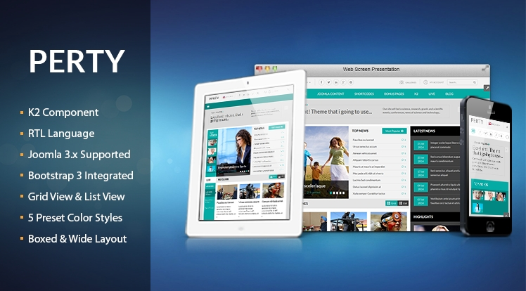 SJ Perty - Responsive Joomla News Video Template