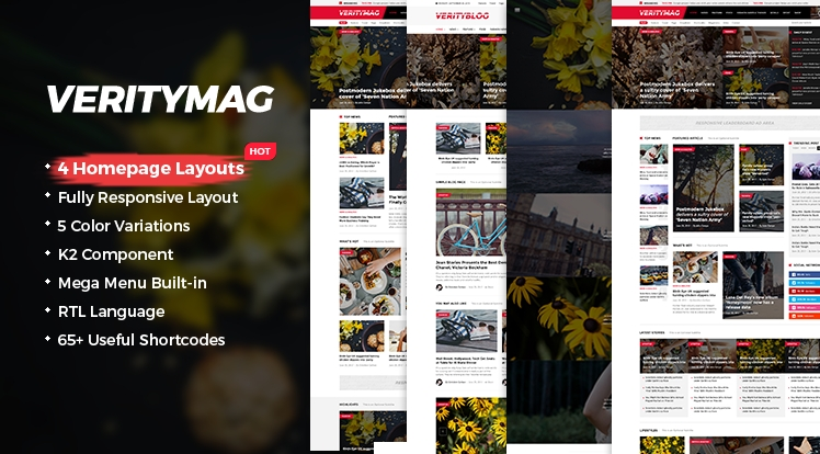 SJ VerityMag - Free Responsive Joomla news magazine Template