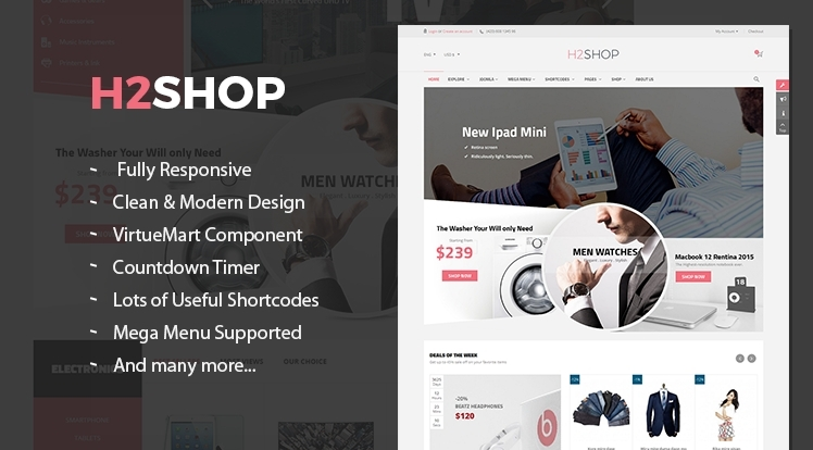 SJ H2shop - Clean & Modern Responsive VirtueMart 3 Template
