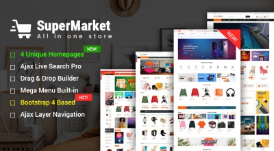 Design #4 Available in SuperMarket - Best-selling Bootstrap 4 Shopify Theme