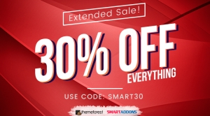 Extended Offer: 30% OFF Everything at SmartAddons & ThemeForest Stores