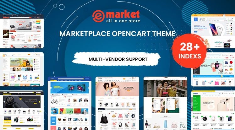 eMarket OpenCart theme Ready with 28 Awesome Designs