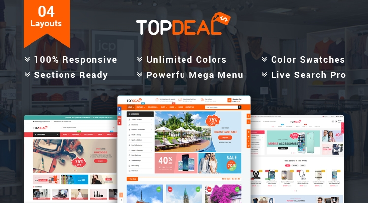 Ss TopDeal - Multipurpose Shopify Theme with Sectioned Drag & Drop Builder