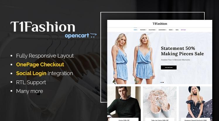 T1Fashion - Responsive Fashion OpenCart Theme