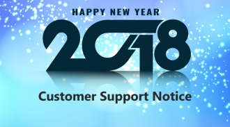 Customer Support Notice for New Year Holiday 2018