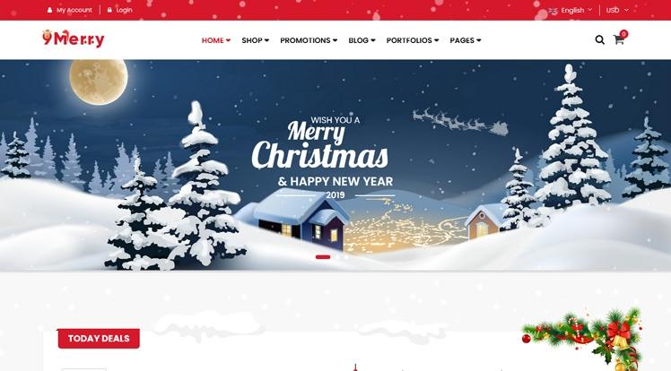 9Merry Free - Free Christmas Gift & Decoration Store WordPress Theme