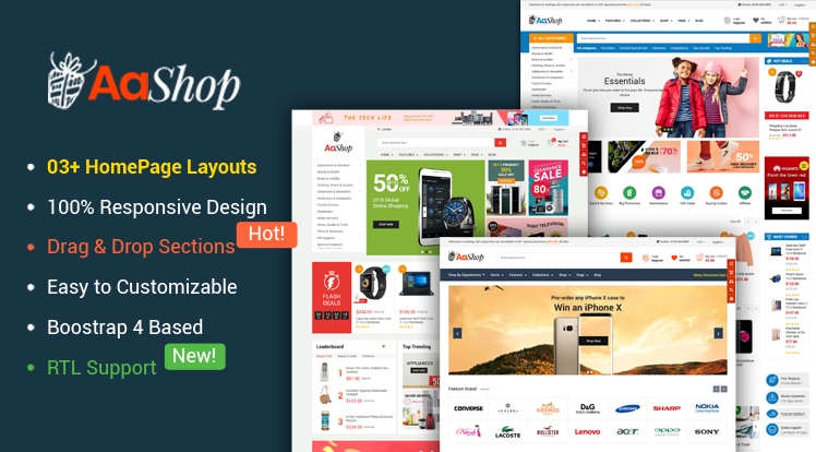 Ss AaShop - Responsive Multipurpose Sectioned Bootstrap 4 Shopify Theme