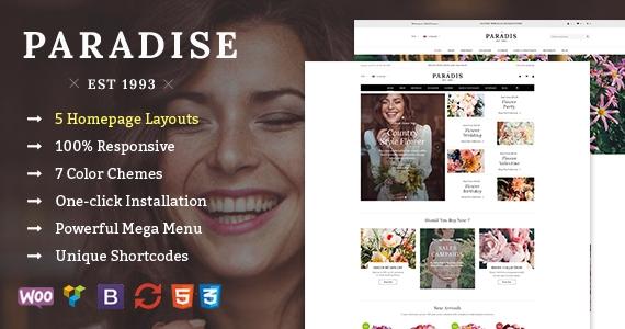 SW Paradise - An Elegant Flower Store WordPress WooCommerce Theme