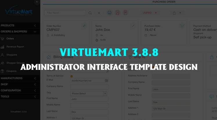 VirtueMart 3.8.8 - Administrator Interface Template Design Updated
