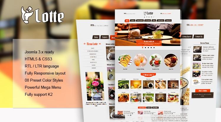 SJ Lotte - Responsive Joomla restaurant, hotel or tourism Template