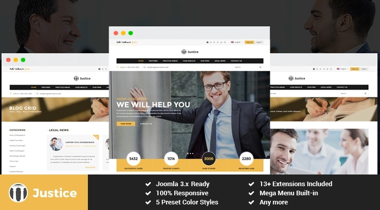 SJ Justice - Responsive Law Firm Joomla Template