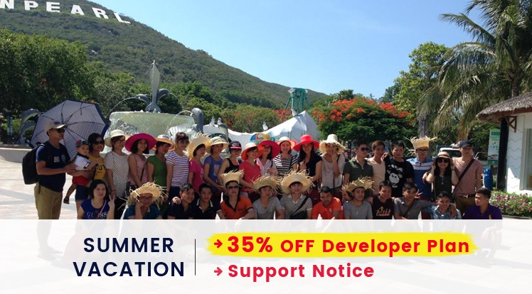 Summer Holiday Vacation Announcement: 35% OFF on Developer Plan & Support Notice