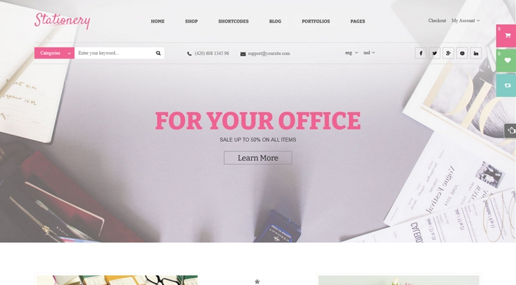Stationery - Beautiful WordPress Theme for Office Supplies