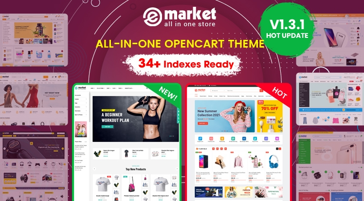 Design #34 Available in eMarket - Weekly Bestselling OpenCart Theme