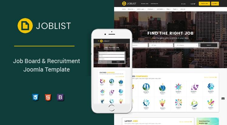 Sj JobList - Job Board & Recruitment Joomla JS Jobs Template