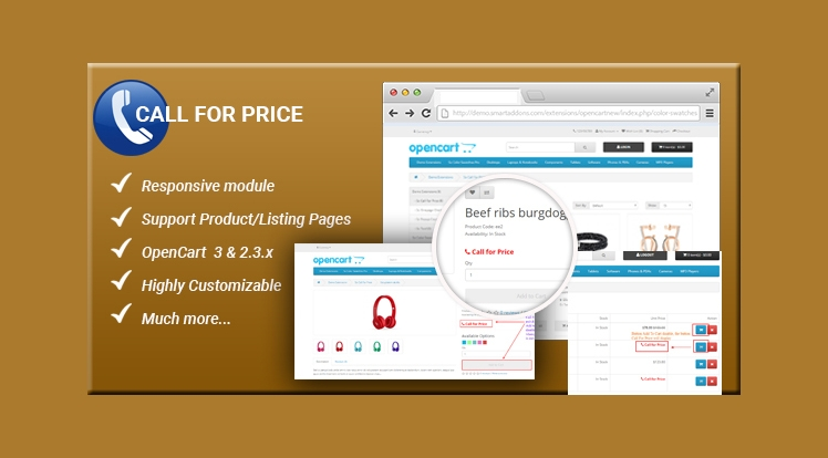 Call For Price - Responsive Enabled/Disabled Add to Cart button OpenCart Module