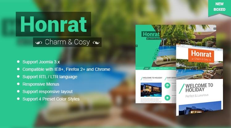 SJ Honrat - Responsive Joomla Hotel, resort & spa Template
