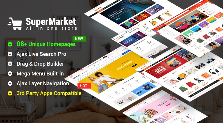 Ss SuperMarket - Responsive Drag & Drop Bootstrap 4 Shopify Theme
